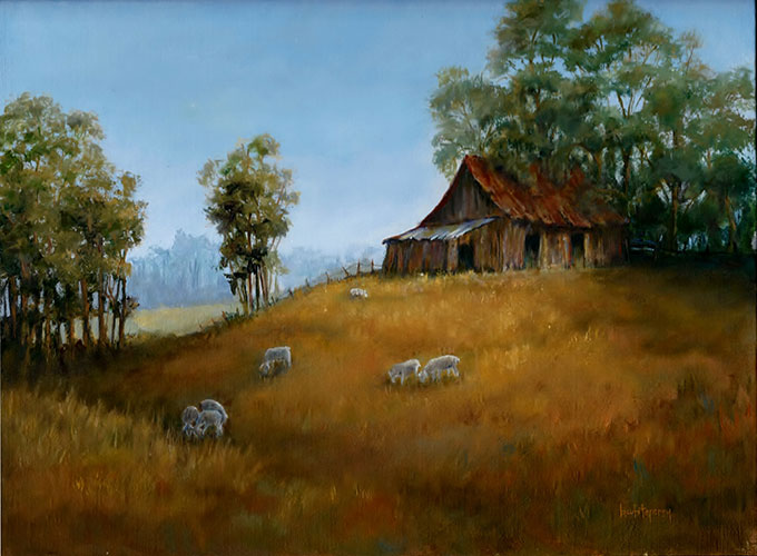 Barn Painting with Sheep
